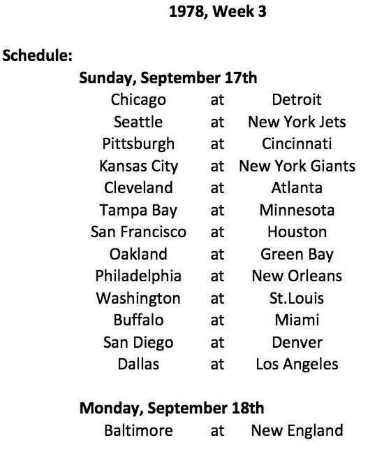 1978 Replay Week 3 Schedule