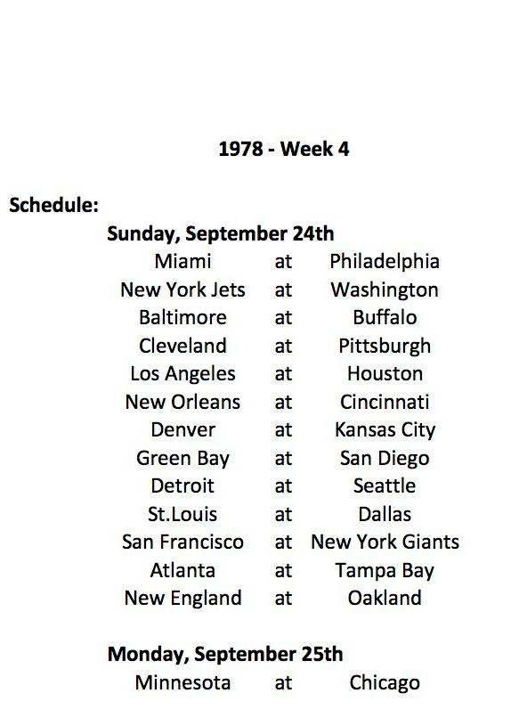 1978 Week 4 Schedule