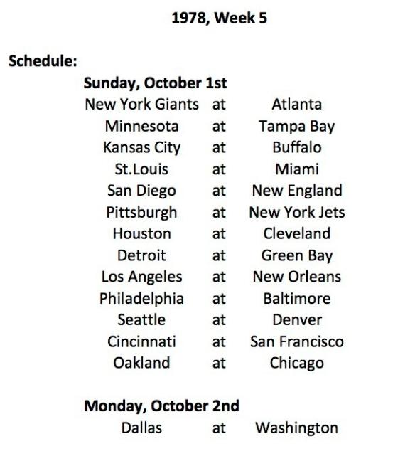 1978 Week 5 Schedule