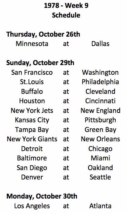 1978 Week 9 Schedule