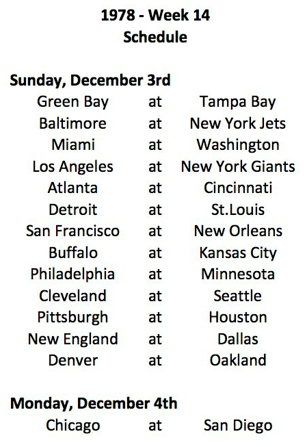 1978 NFL Week 14 Schedule