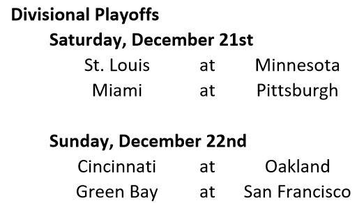Divisional Playoff Schedule