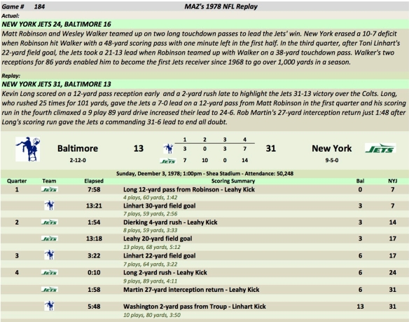 Game 184 Bal at NYJ
