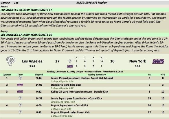Game 186 LA at NYG