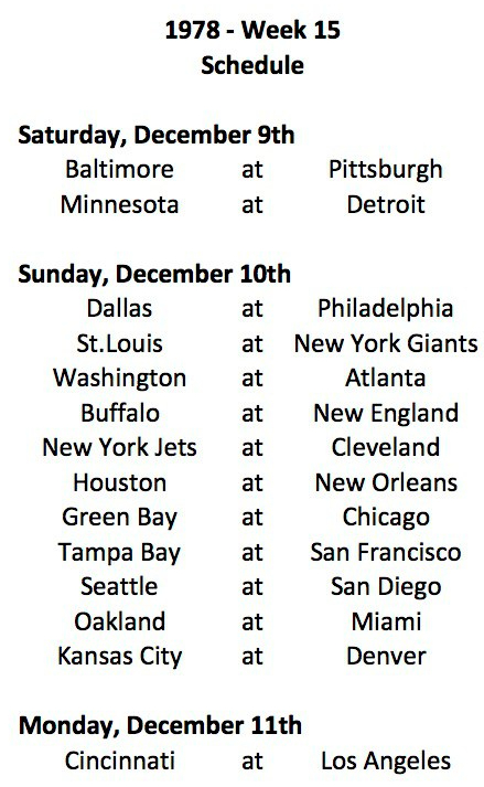 1978 NFL Week 15 Schedule