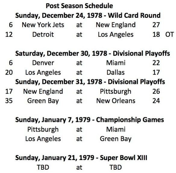 1978 Championship Round Schedule