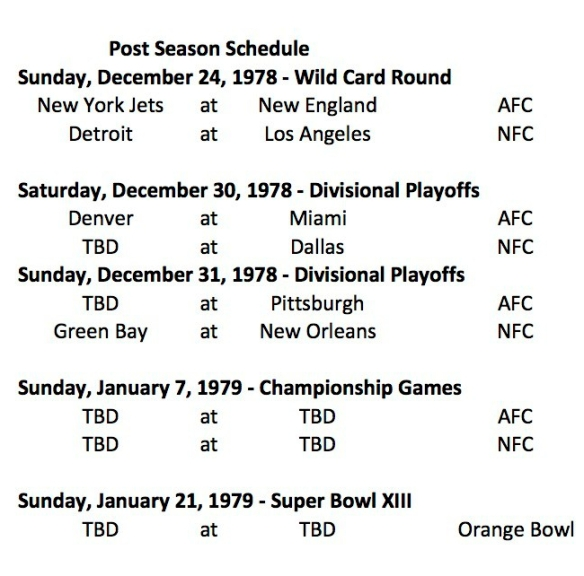 1978 NFL Post Season Schedule