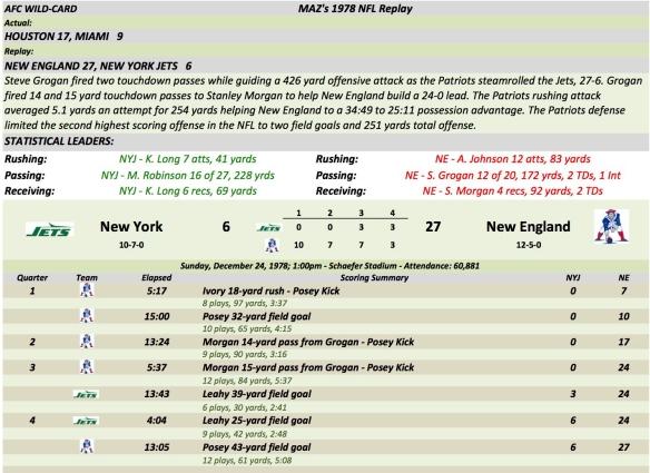 AFC Wild Card NYJ at NE