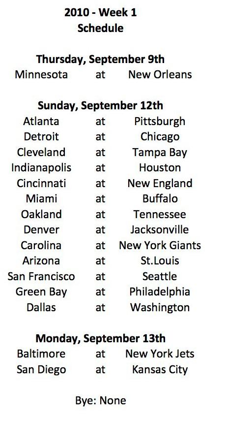 2010 Week 1 Schedule
