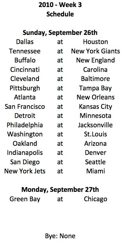 2010 Week 3 Schedule