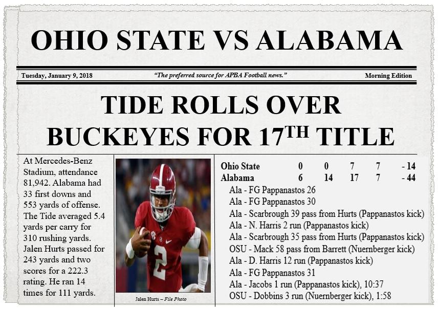 Ohio State vs Alabama