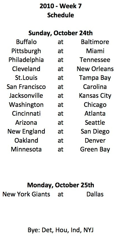 2010 Week 7 Schedule