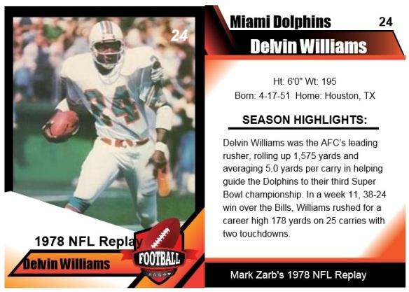1978 - Delvin Williams Card