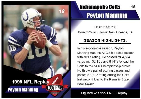 1999 Peyton Manning Card