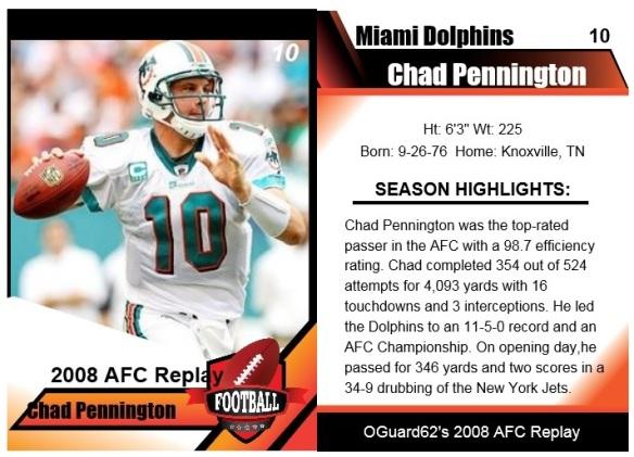 2008 Chad Pennington Card