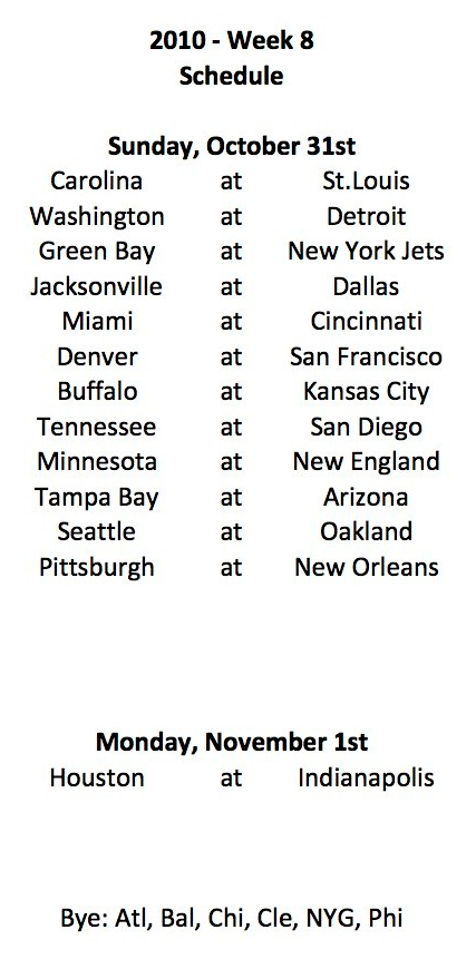 2010 NFL Week 8 Schedule