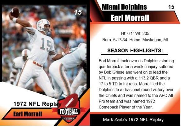 1972 - earl morrall card