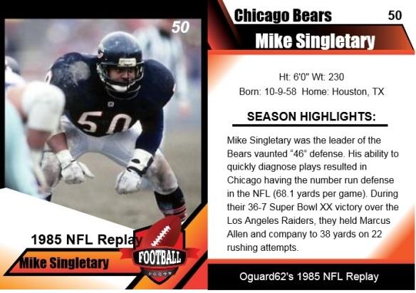1985 mike singletary card