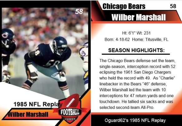 1985 wilber marshall card
