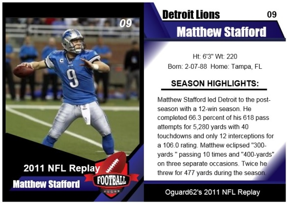 2011 Matthew Stafford Card