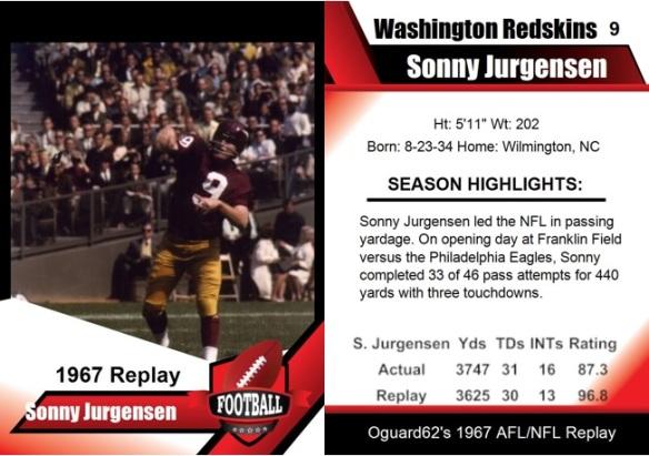 1967 - Sonny Jurgensen Card