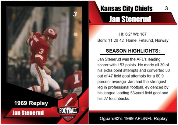 1969 - Jan Stenerud Card