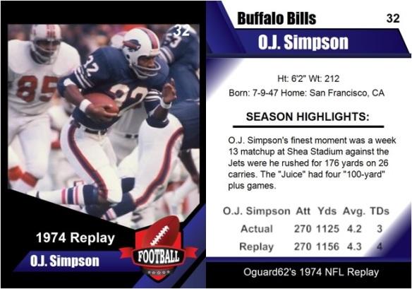 1974 - O.J. Simpson Card