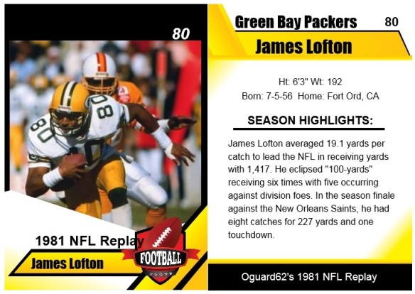 1981 - James Lofton Card