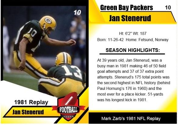 1981 - Jan Stenerud Card