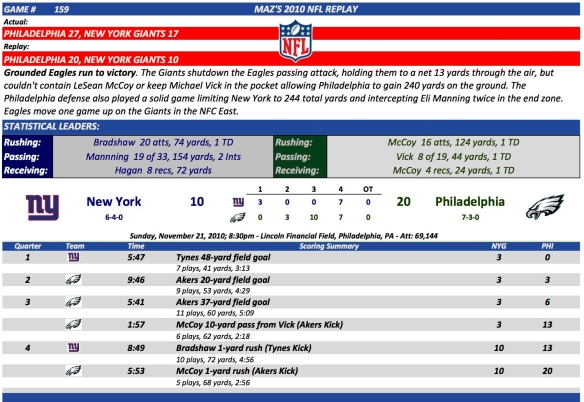Game 159 NYG at Phi