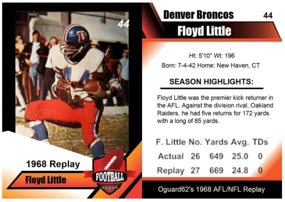 1968 - Floyd Little Card (kick returner)