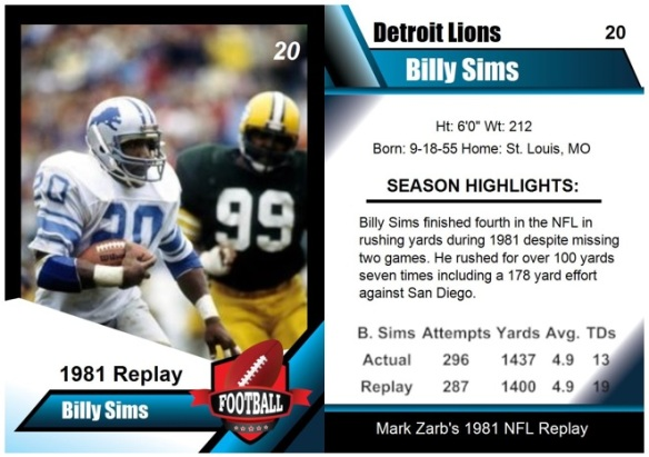 1981 - Billy Sims Card
