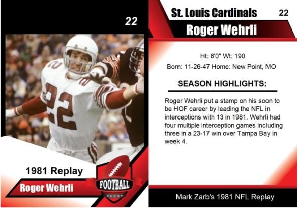 1981 - Roger Wehrli Card