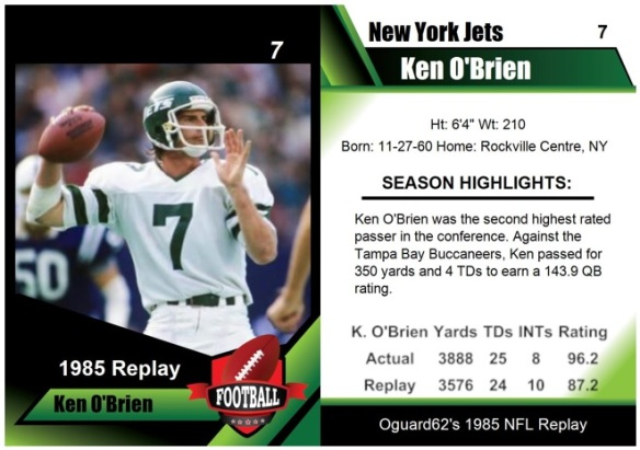 1985 - Ken O'Brien Card
