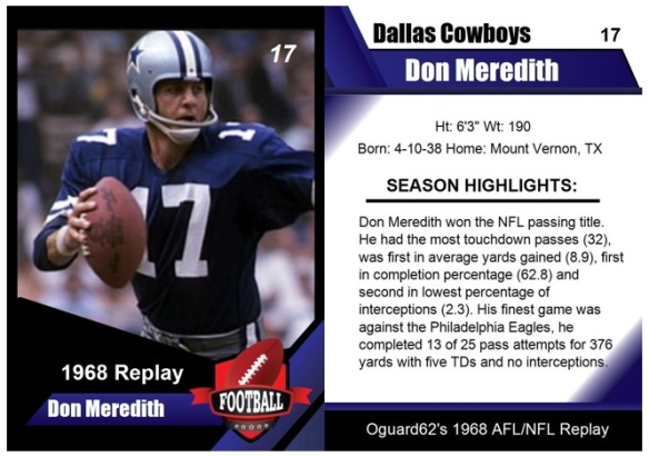 1968 - Don Meredith Card