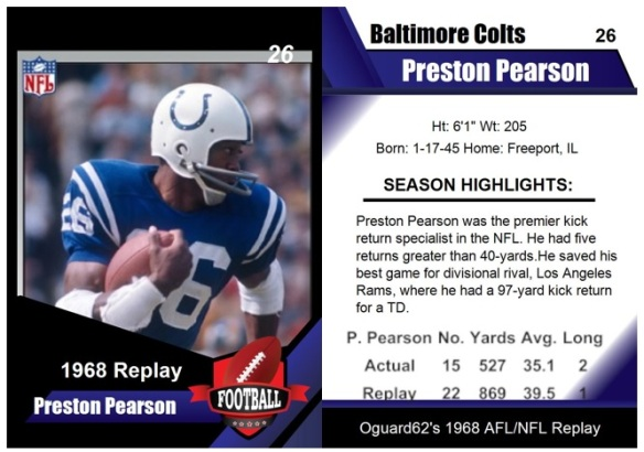 1968 - Preston Pearson Card (kick returner)