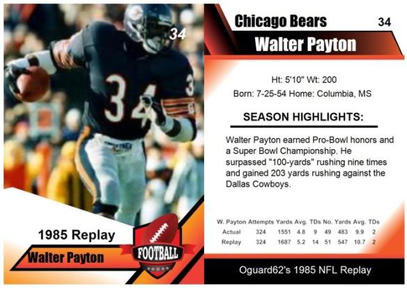 1985 - Walter Payton Card