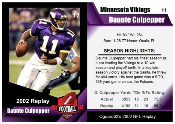 2002 - Duante Culpepper Card