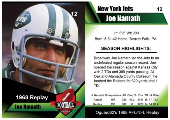 1968 - Joe Namath Card
