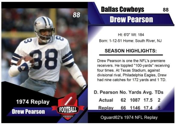 1974 - Drew Pearson Card