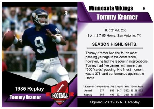 1985 - Tommy Kramer Card