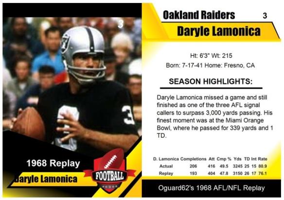 1968 - Daryle Lamonica Card