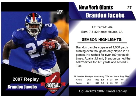 2007 - Brandon Jacobs Card