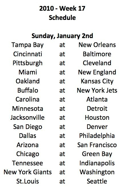 2010 Week 17 Schedule