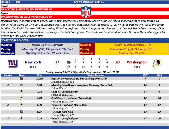 Game 255 NYG at Was