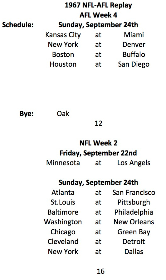 1967 AFL Week 4 and NFL Week 2 Schedules