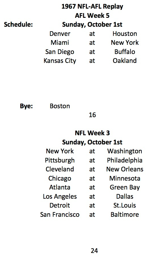 AFL Week 5 NFL Week 3 Schedule