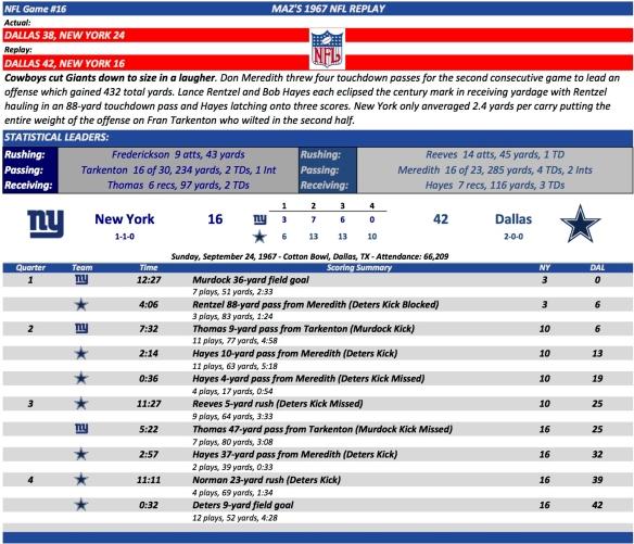 NFL Game #16 NY at Dal