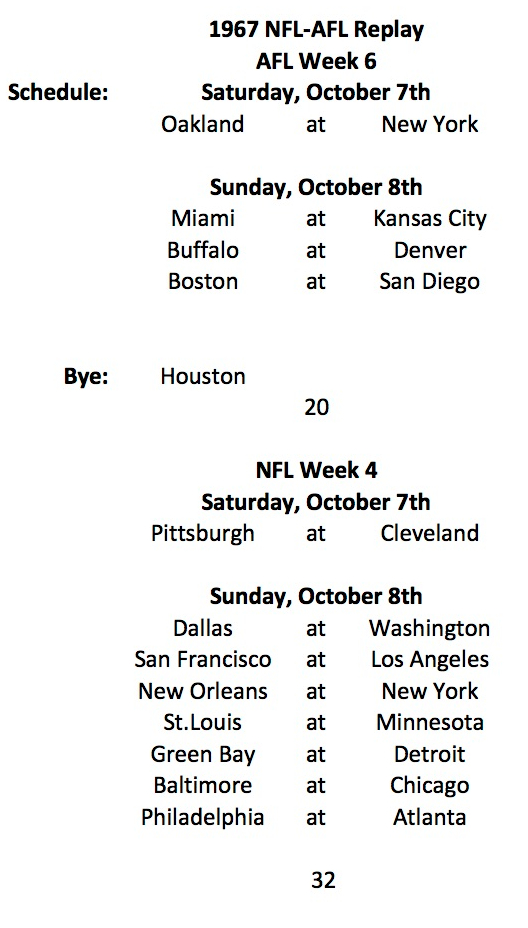 1967 AFL Week 6 NFL Week 4 Schedule