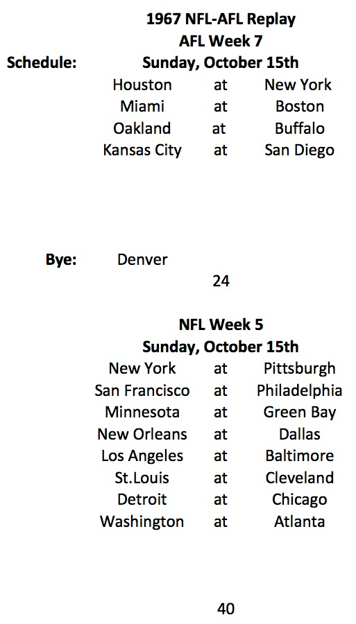 1967 AFL Week 7 NFL Week 5 Schedule